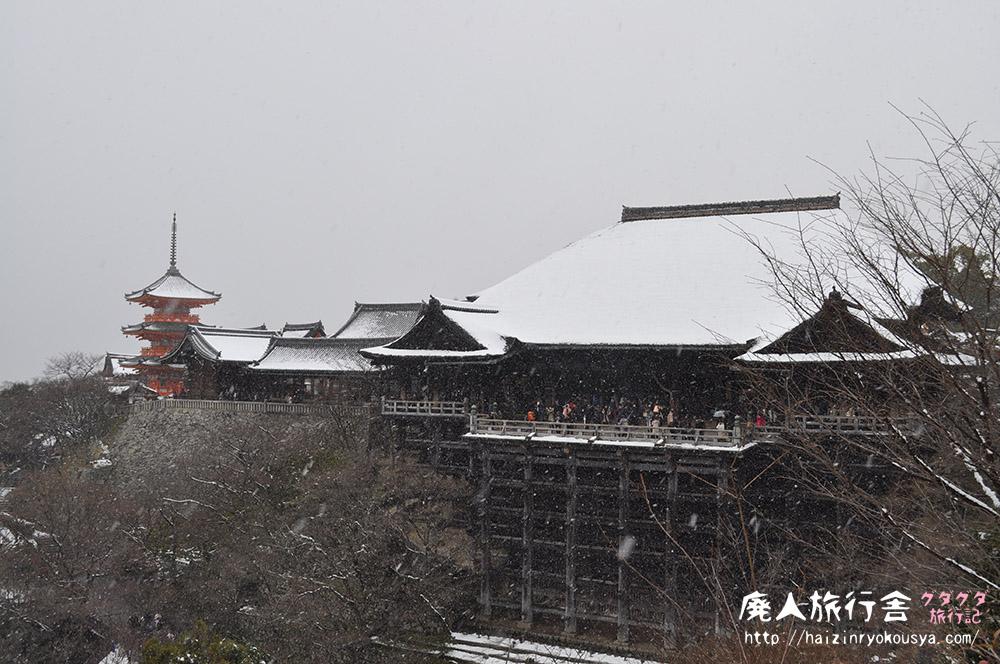 猛吹雪の中の清水寺は真っ白だった。(京都)